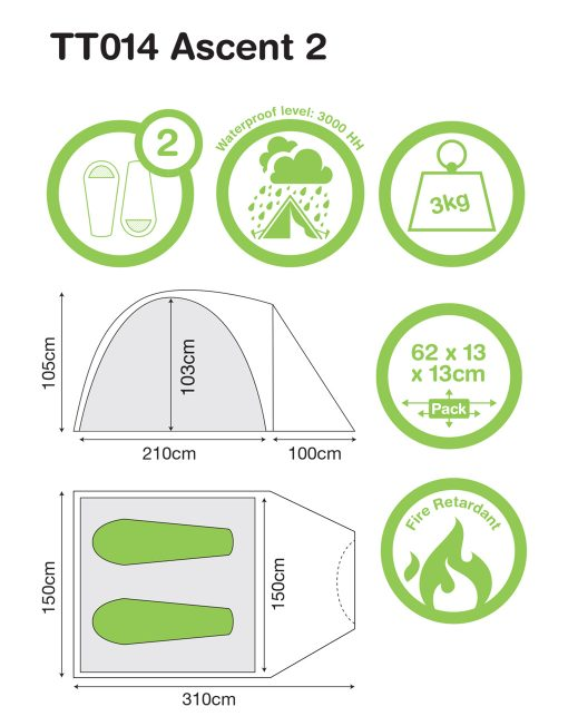 2 peson Ascent 4 - Festival Camping Gear - Pamper The Camper