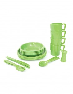 26 Piece Picnic Set Green - Festival Camping Gear - Pamper The Camper
