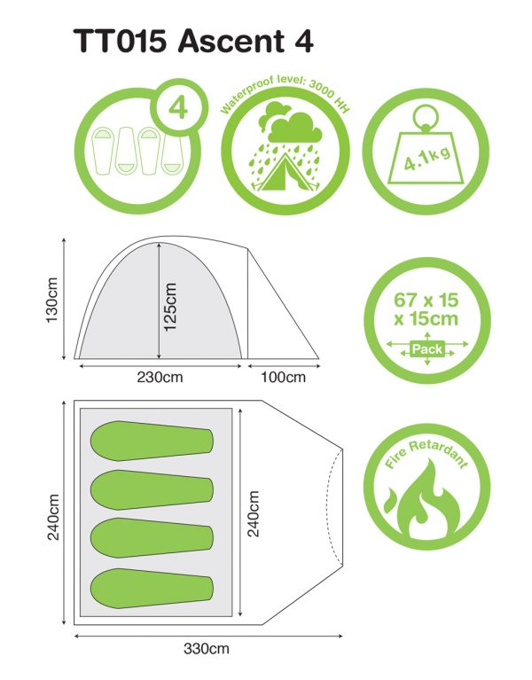 4 peson Ascent 4 - Festival Camping Gear - Pamper The Camper