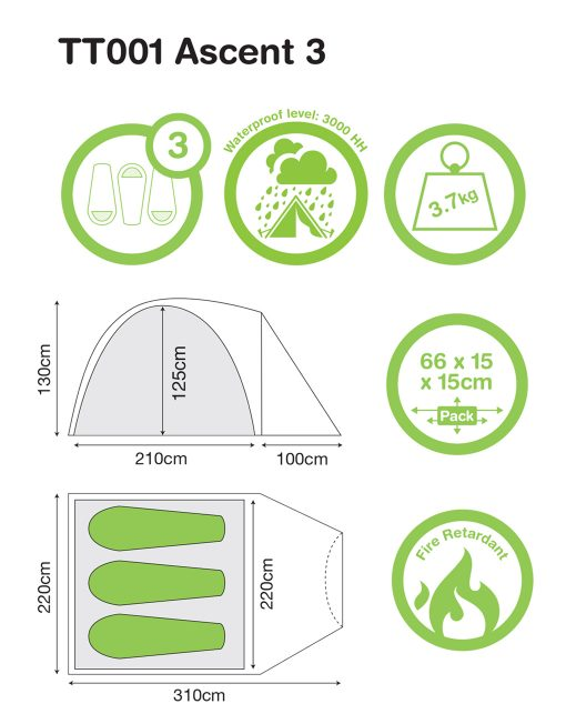 3 person Ascent 3 - Festival Camping Gear - Pamper The Camper